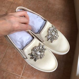 NEW Slip on jewelled satin sneakers